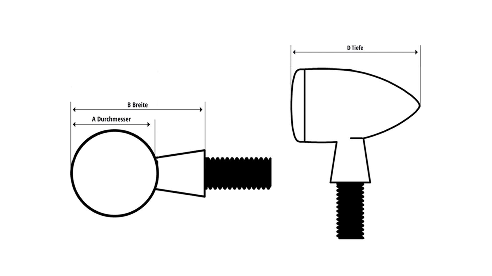 highsider LED indicador de giro VUELO, cristal tintado